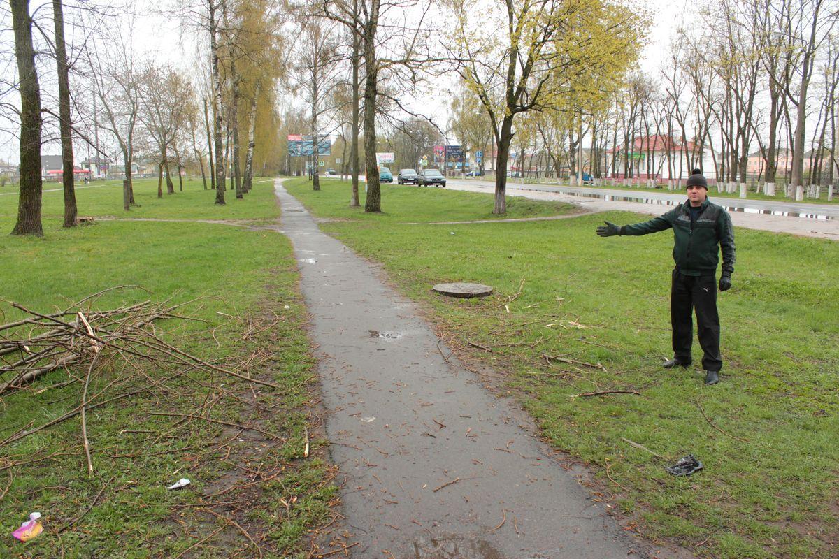 Дмитрий Август показывает место, на котором упавшее дерево пролежало четыре дня.