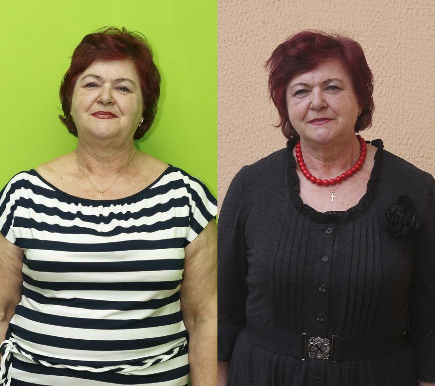 Татьяна Стрельчик в начале проекта и по итогам второго месяца. Фото: Татьяна Малеж.