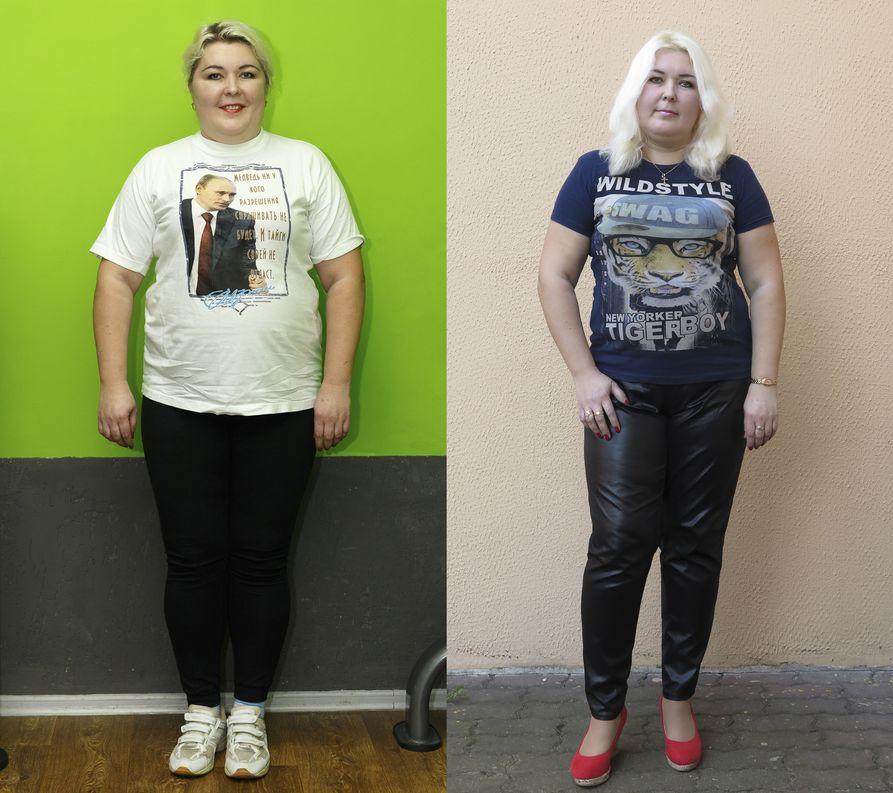 Татьяна Бибикова в начале проекта и по итогам второго месяца. Фото: Александр КОРОБ.