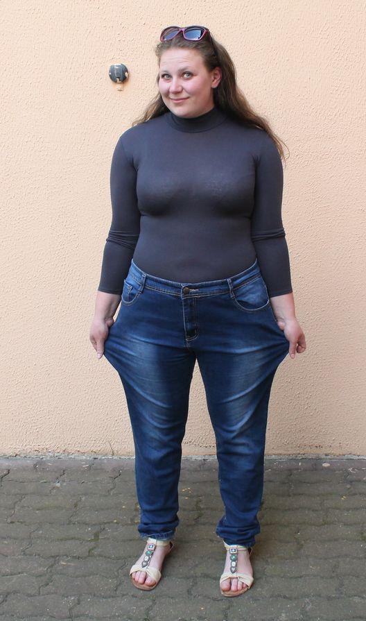 Роза  носила эти джинсы до проекта. Фото: Татьяна МАЛЕЖ.