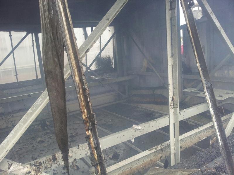 На крыше цеха БПХО произошел пожар