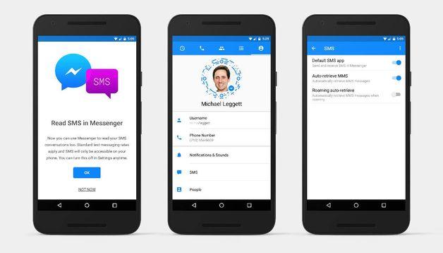 В фейсбук Messenger возникла поддержка SMS