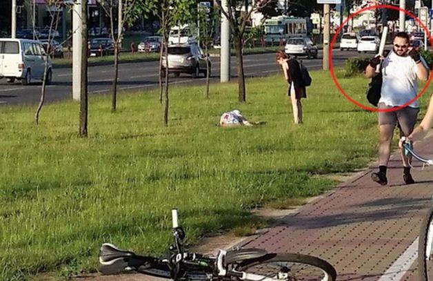 Подозреваемый велосипедист, который минуту назад избил парня.