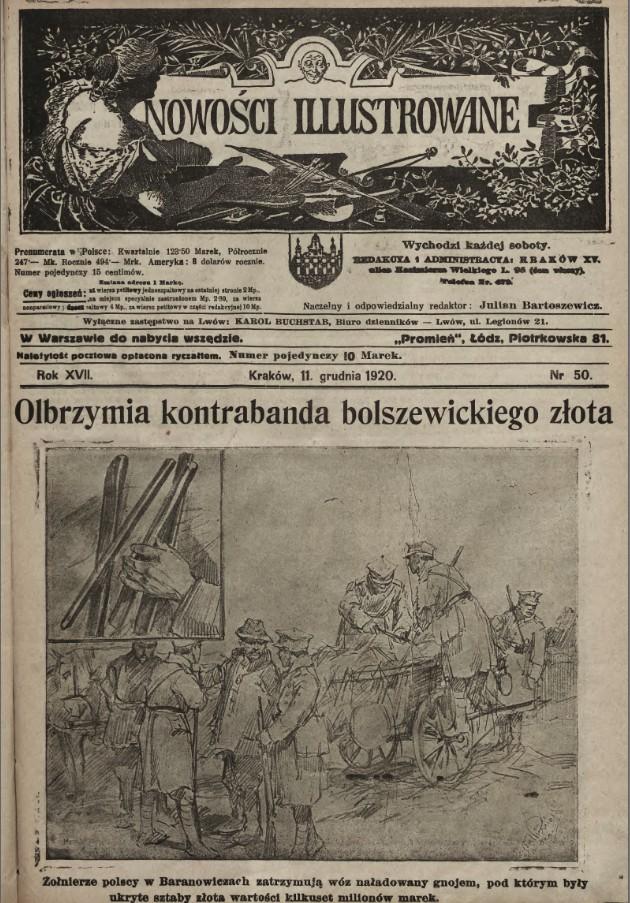 Першая старонка тыднёвіка Nowosci illustrowane №50-1920