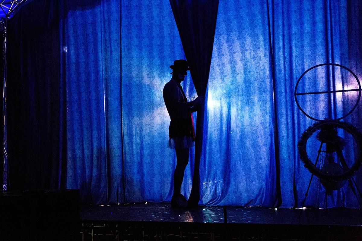 Клоун подглядывает за сценой