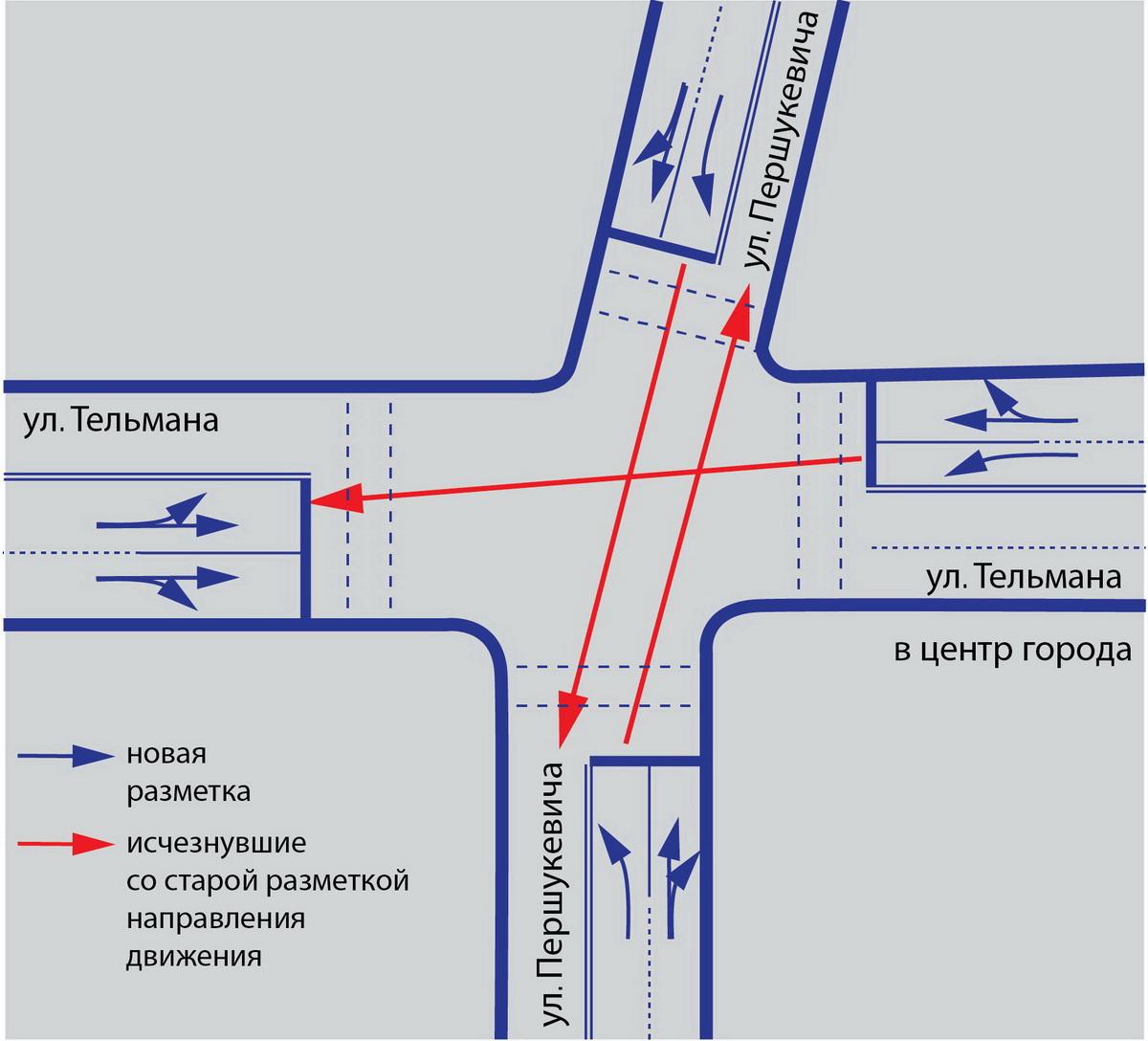 Перекресток улиц Тельмана - Першукевича
