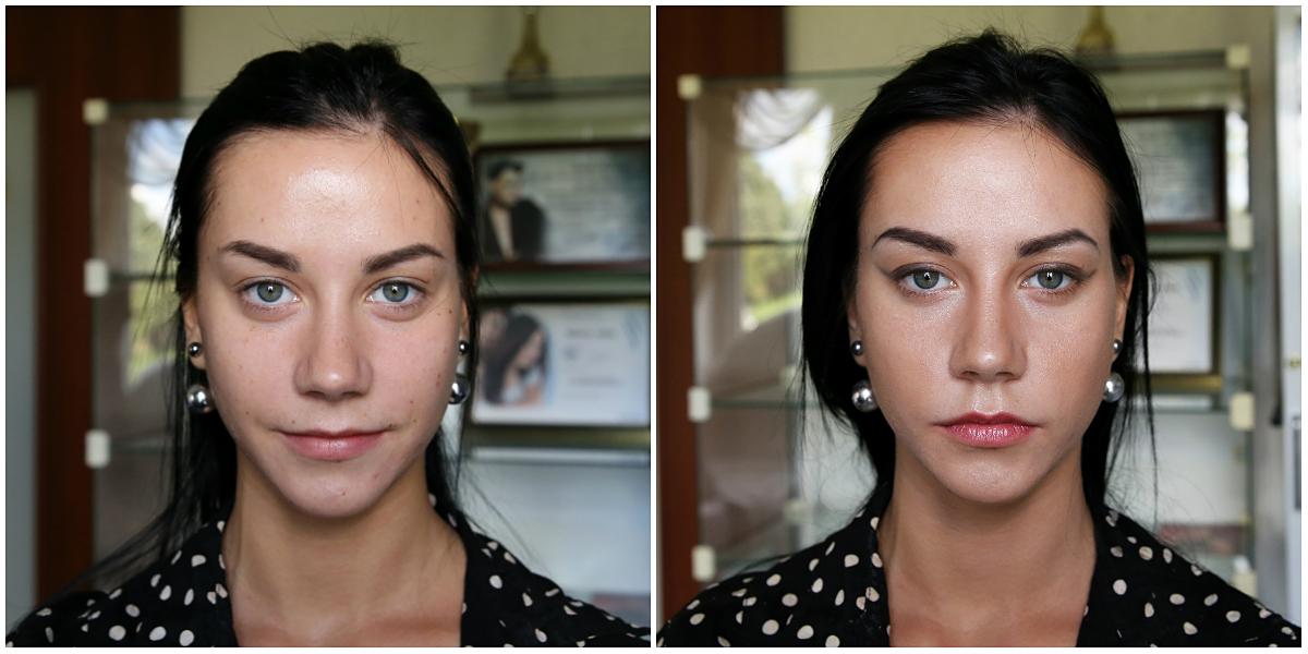 Как сделать лицо уже с помощью макияжа до и после 72