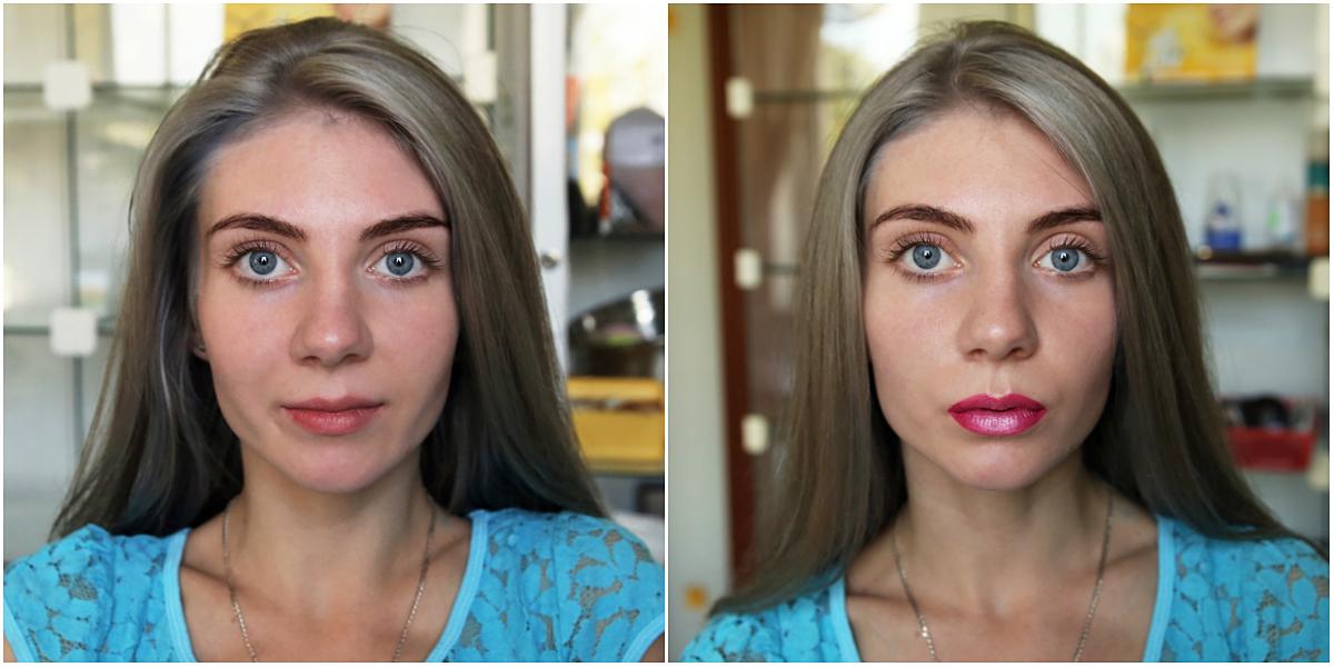 Модель Ангелина до и после нанесения помады. Фото: Евгений ТИХАНОВИЧ