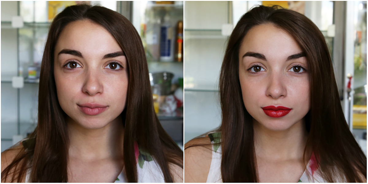 Модель Дарья до и после нанесения помады. Фото: Евгений ТИХАНОВИЧ