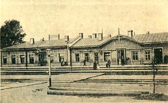 Цэнтральны вакзал у Баранавічах (здымак часоў І сусветнай вайны)