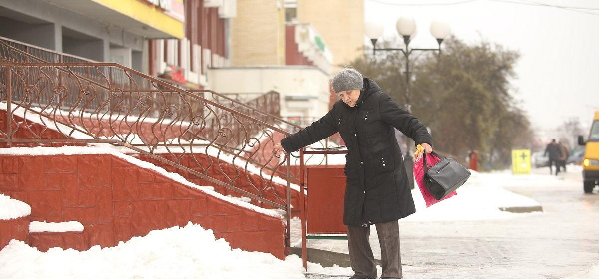 Гололед в Барановичах. Фоторепортаж