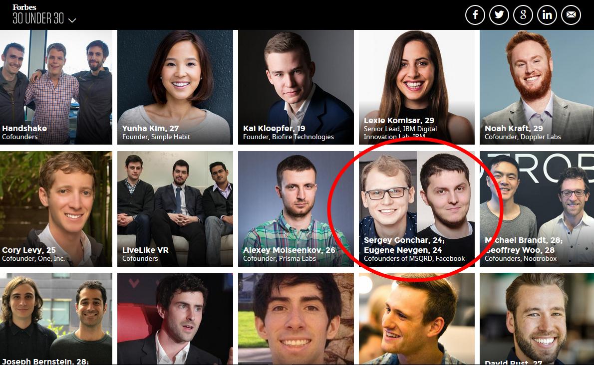 Два молодых белоруса попали втридцатку наилучших предпринимателей Forbes