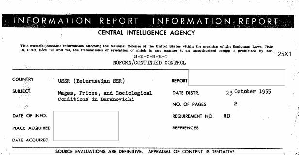 Что писали агенты ЦРУ о жизни в Барановичах в середине 1950-х годов