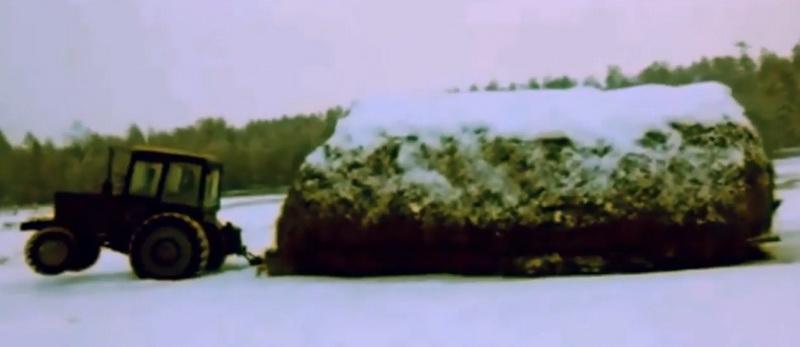 В Якутии трактор «Беларус» в экстремальном стиле перевез огромный стог сена
