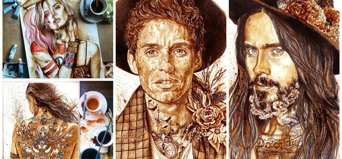 Художник рисует реалистичные портреты с помощью кофе