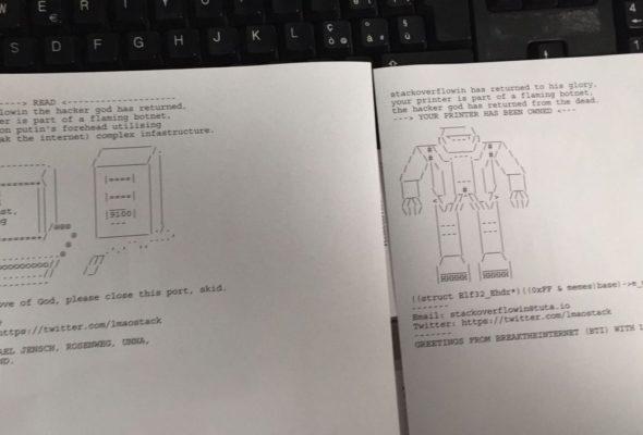 Неизвестный хакер взломал 150 тысяч принтеров, чтобы помочь людям и немного повеселиться
