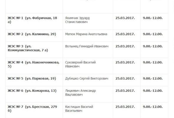 В барановичских ЖЭСах 25 марта депутаты проведут прием граждан