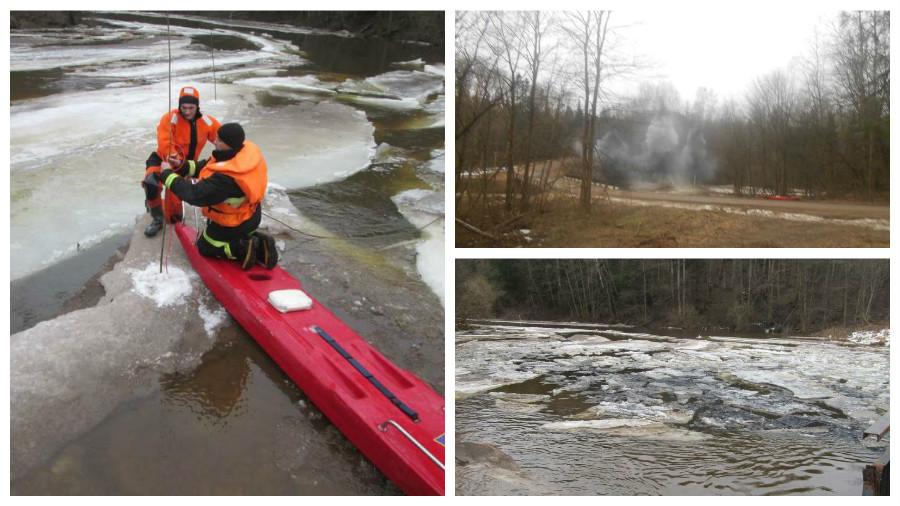 МЧС опубликовало ролик подрыва ледяного затора на реке Черница