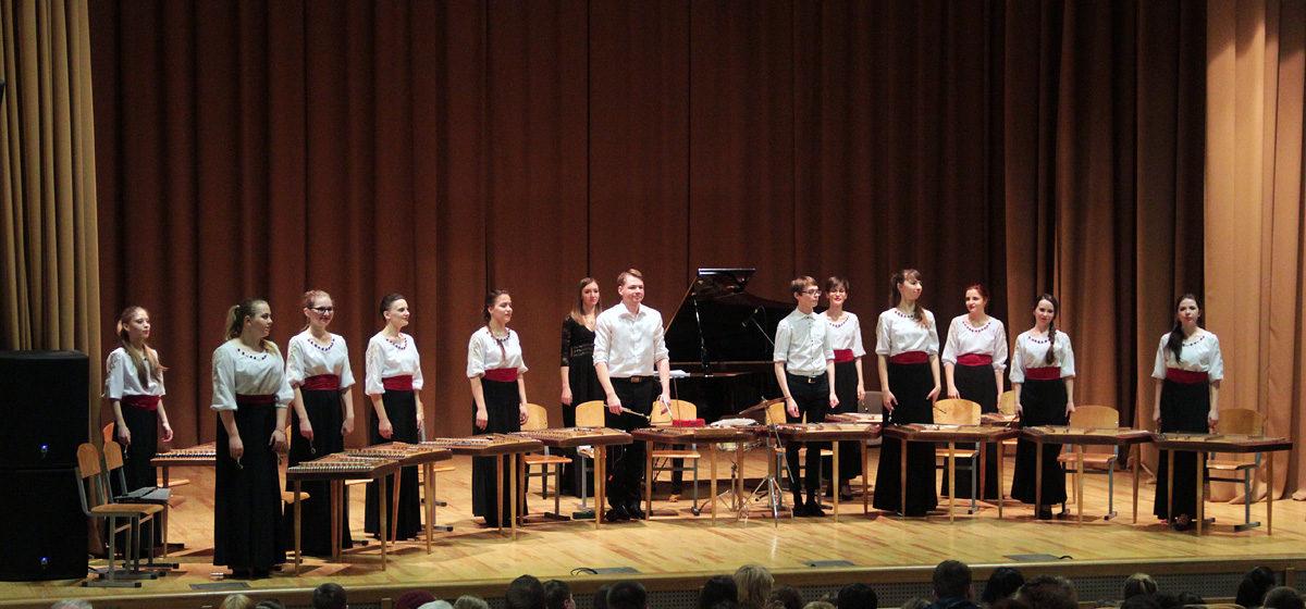 В Барановичском госуниверситете ансамбль цимбалистов «Лiлея» исполнил мировые хиты