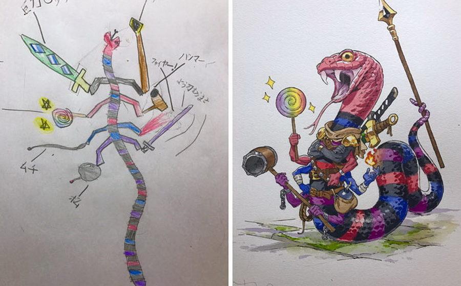 Подборка необычных работ художника, который перерисовывает рисунки своих детей
