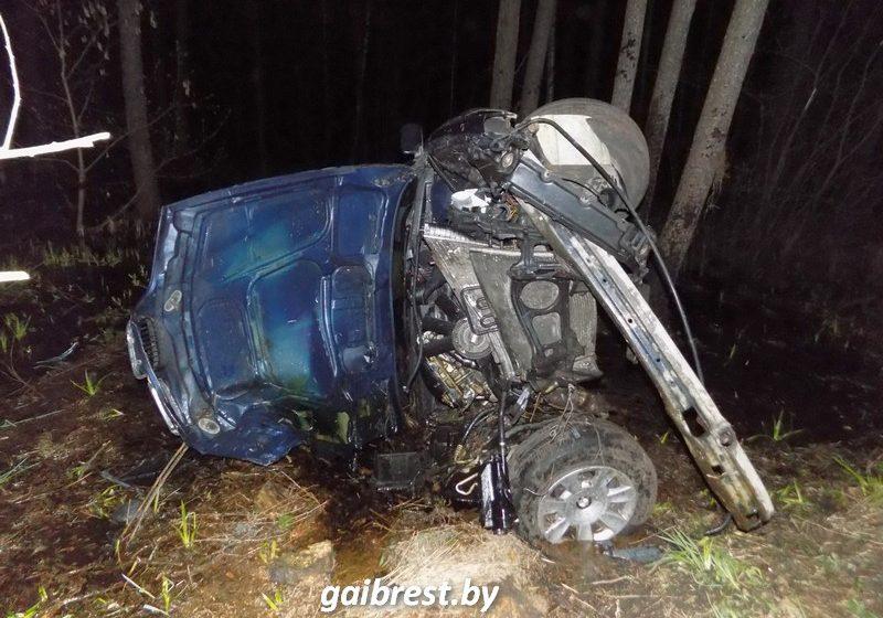 Под Ивацевичами BMW съехал с трассы и врезался в дерево