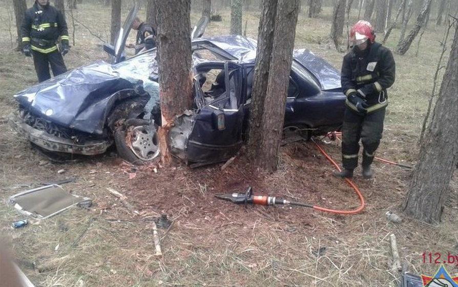 В Рогачевском районе водитель BMW не справился с управлением и вылетел в кювет, где столкнулся с деревом