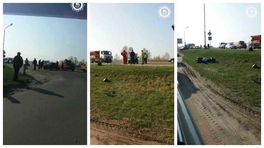 В Бресте произошло тройное ДТП с участием двух автомобилей и мотоцикла