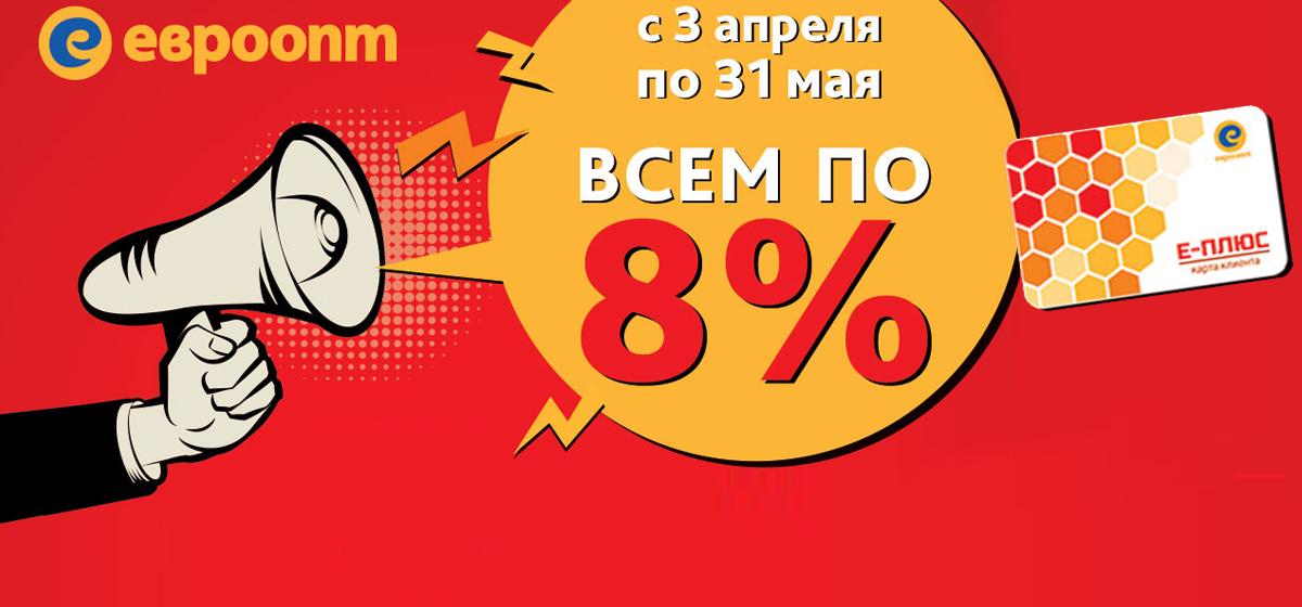 «Всем по 8%» — новое суперпредложение от сети «Евроопт» для жителей Барановичей, Бреста и Калинковичей»*