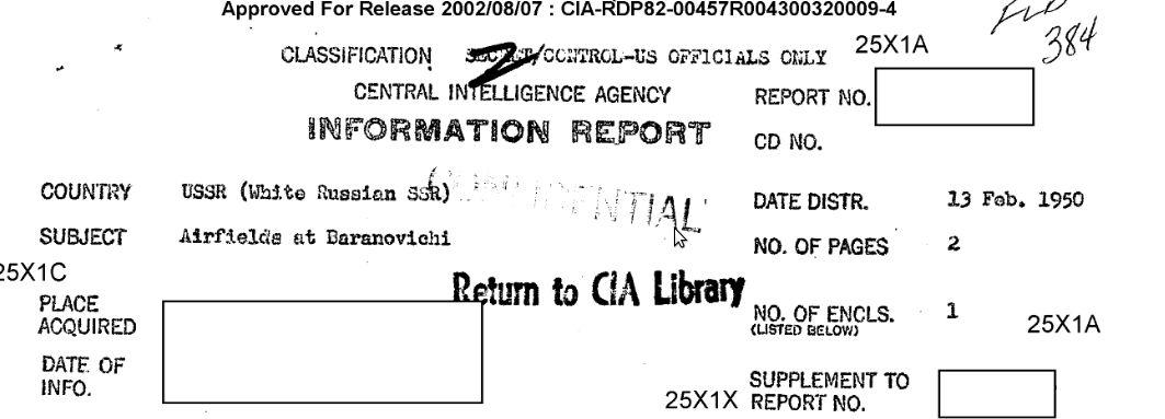 Что сообщали агенты ЦРУ о барановичских аэродромах в начале 1950-х