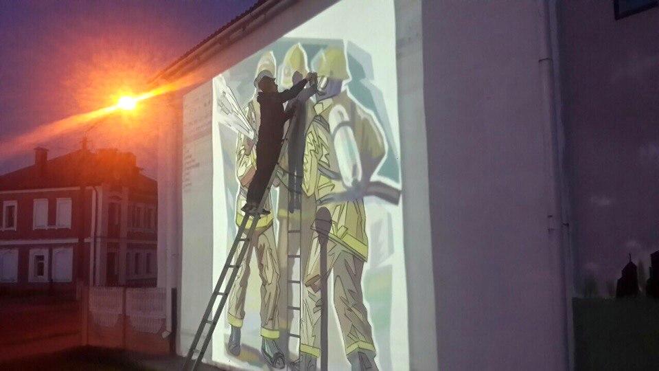 В Барановичах разрисовали стены МЧС