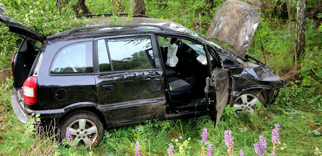 В Ганцевичском районе женщина на Opel Zafira съехала в кювет, снесла дерево и наскочила на валун