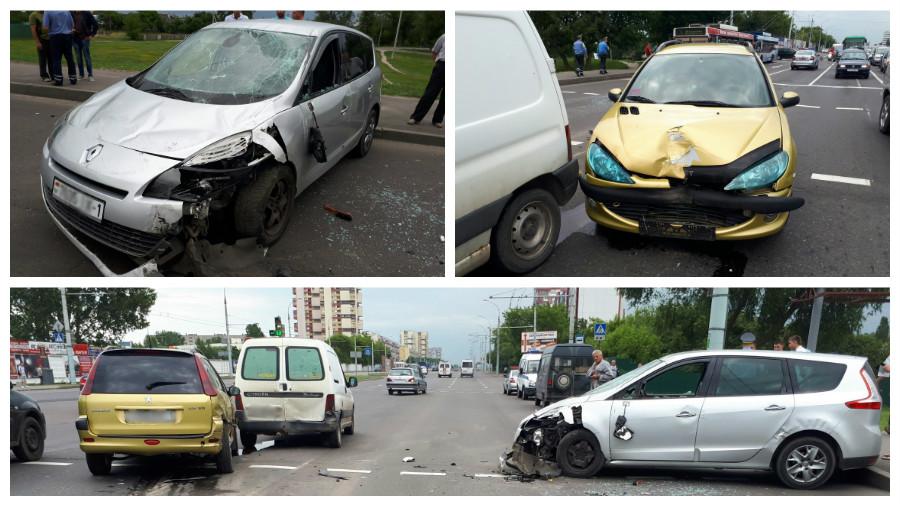 В Бресте столкнулись три автомобиля, один из которых опрокинулся