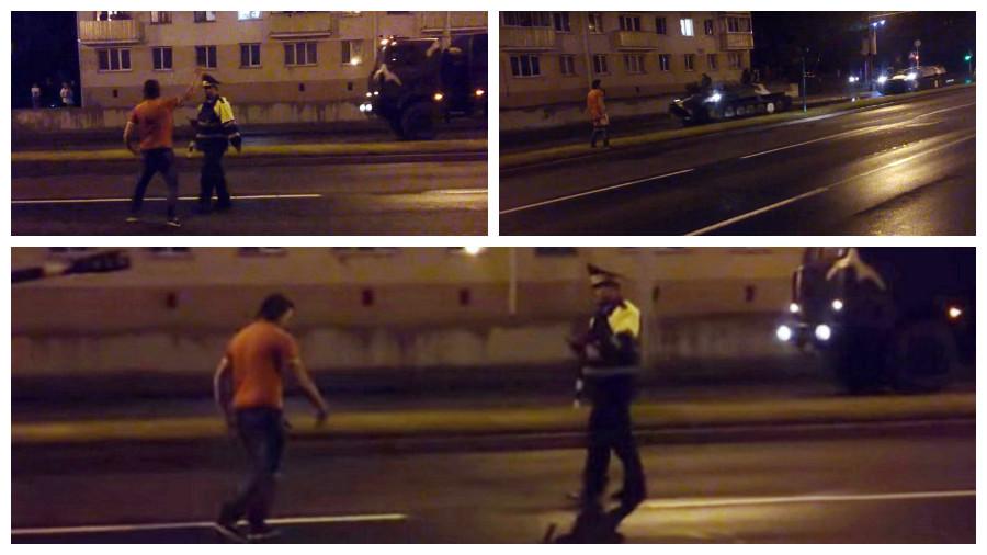 В Минске неадекватный мужчина показывал танкам гениталии, а потом ударил милиционера по голове (видео)