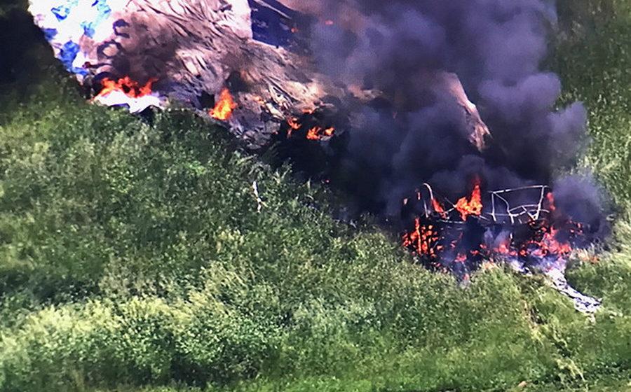 В США во время турнира по гольфу загорелся и упал дирижабль (видео)