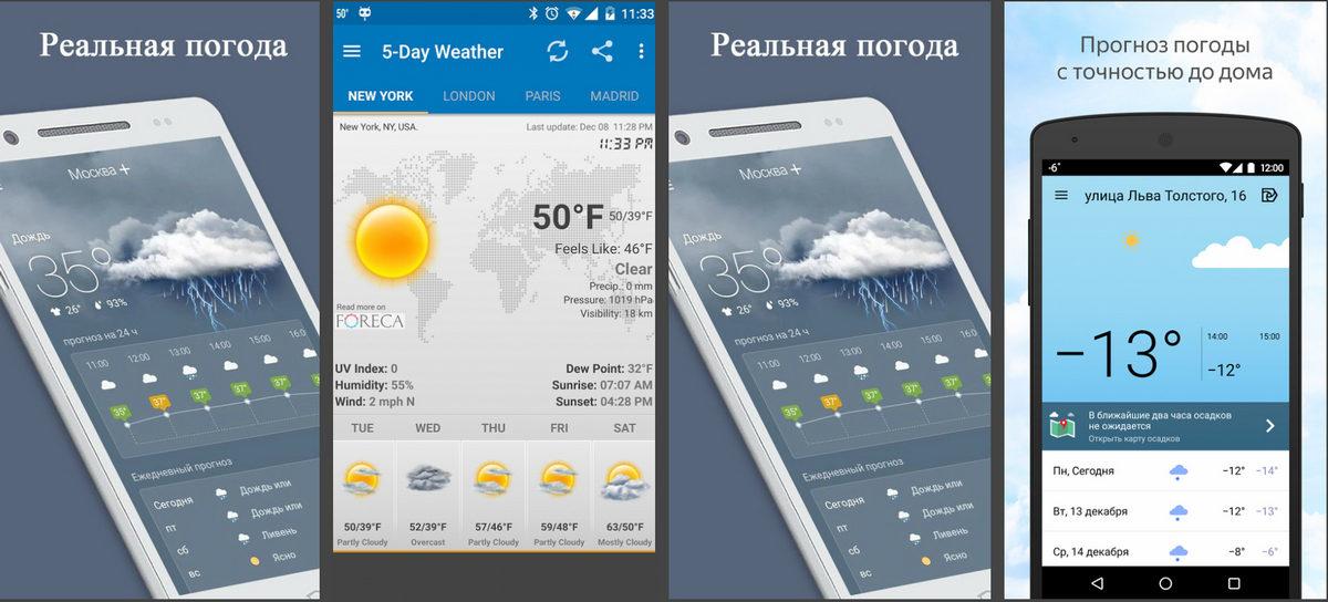 Пять популярных программ о погоде для мобильных телефонов и планшетов