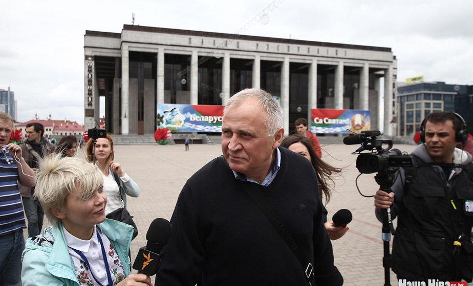 Николай Статкевич провел в центре Минска акцию с требованием отменить учения «Запад-2017»