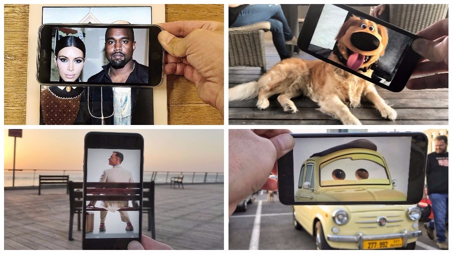 Подборка необычных фотографий, созданных при помощи картинок на смартфоне, наложенных на реальный ландшафт
