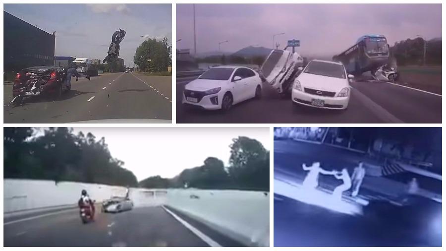 ТОП-5 видео ужасных аварий за неделю: автобус-убийца, неуправляемая фура в туннеле и мотоциклист-камикадзе