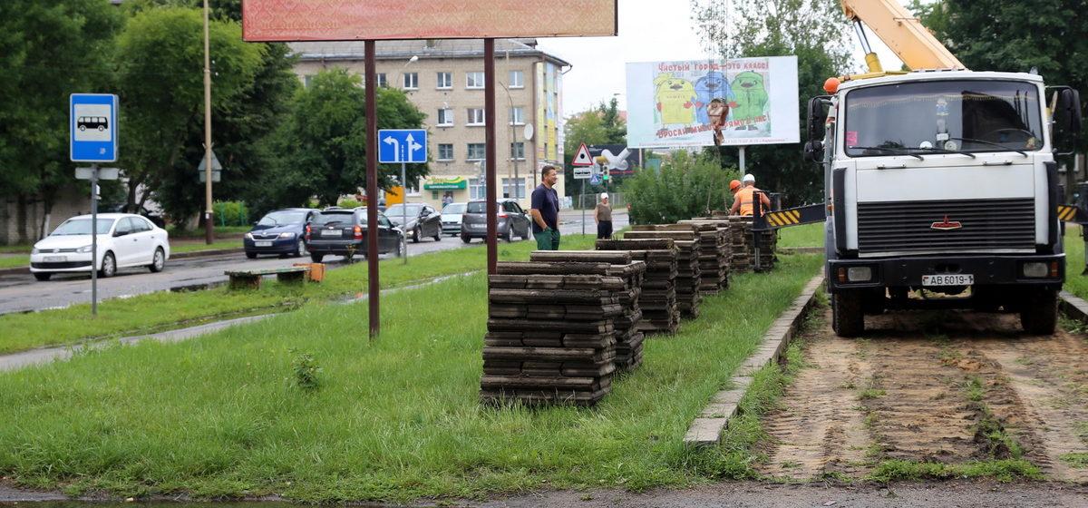 Фотофакт: В Барановичах благоустраивают улицу Притыцкого