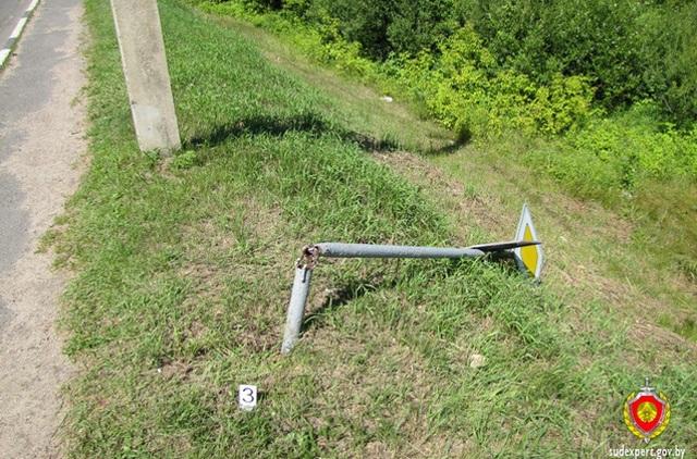 В Столбцовском районе парень после ссоры с девушкой сломал девять дорожных знаков