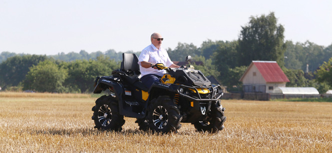 Лукашенко приехал на поле на квадроцикле, а потом сел за комбайн