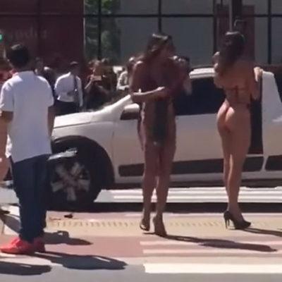 В Сан-Паулу девушки в бикини спровоцировали аварию (видео)