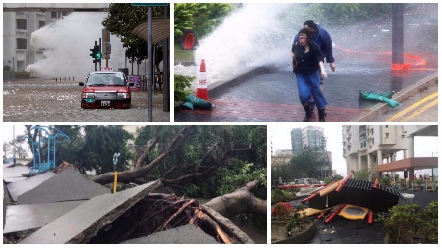 ТОП жутких видео тайфуна «Хато» в Китае: перевернутые машины, затопленные улицы, сорванные крыши