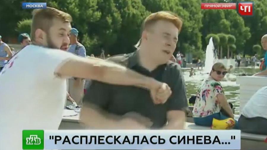 В Москве пьяный десантник ударил корреспондента НТВ в прямом эфире (видео 18+)