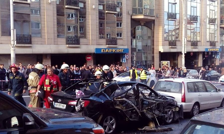 В центре Киева взорвался автомобиль, убит боец чеченского добровольческого батальона