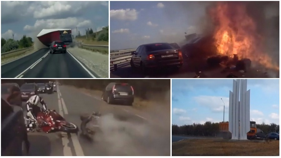 ТОП-7 страшных аварий за неделю: невнимательный пешеход, огненная фура, мотоциклист-ниндзя