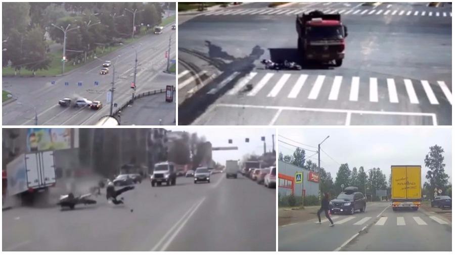 ТОП-7 страшных аварий за неделю: везучий мотоциклист, КамАЗ протаранил легковушку, смерть на пешеходном переходе