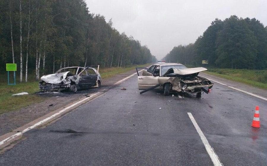 Под Калинковичами лоб в лоб столкнулись Audi и VW, погиб 79-летний водитель