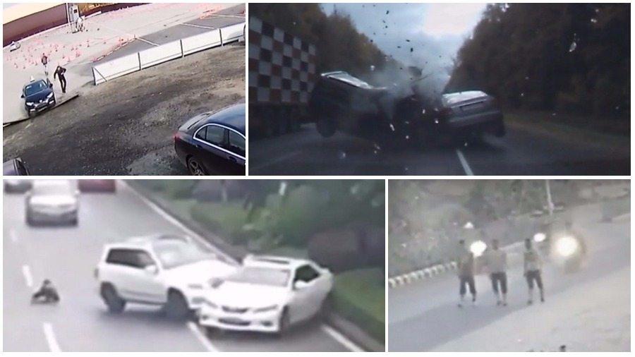 ТОП-5 ужасных аварий за неделю: мотоциклист и пешеход, курсантка автошколы перепутала педали, смертельный обгон
