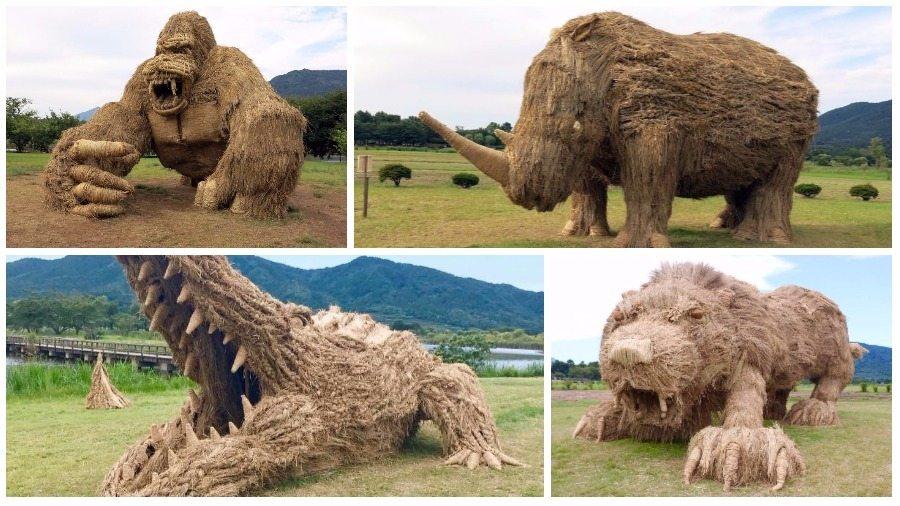 Гигантские животные из соломы вторглись на японские поля (фото)